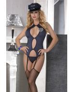 """תחפושת של שוטרת סקסית כוללת בגד גוף, חוטיני, כובע וביריות """"Gia"""""""