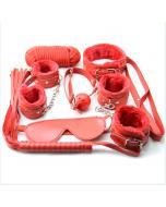 סט בדסמ אדום פרוותי המכיל 7 פריטים איכותיים