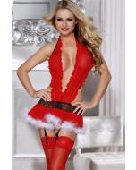 """שמלה אדומה יפייפיה עם ביריות וגביונים """"Fiona"""""""