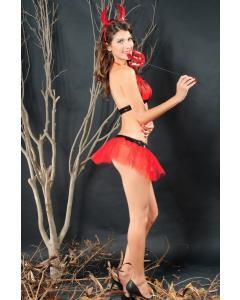תחפושת השדון הרוקד הכוללת חזיה חצאית וקרניים 1