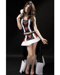 תחפושת לבבית של מלכת הלבבות הכוללת חצאית מיני וקורסט עם ריצרץ