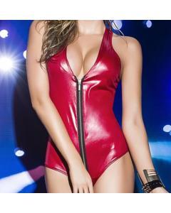 בגד גוף לטקס אדום נמתח עם ריצרצ Nana מתאים ממידה M עד XL