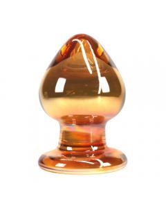 """פלאג אנאלי רחב מוזהב מזכוכית מחוסמת 5.5 ס""""מ רוחב 9 ס""""מ אורך """"Juno"""""""