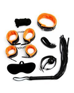 סט קשירות מקצועי בצבע כתום שחור מעור עם עם ציפוי פרוותי בעל 7 פריטים