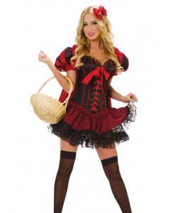 תחפושת כיפה אדומה הכוללת קורסט , גלימה , חצאית מיני וסיכה לשער 1