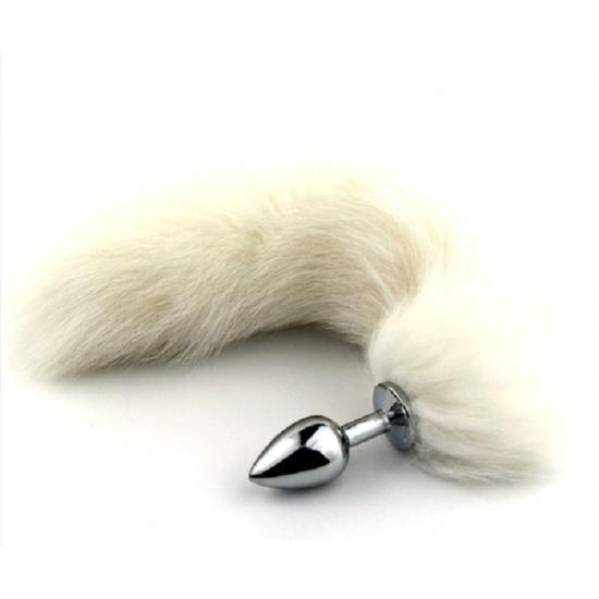 פלאג אנאלי מדהים בעל זנב פרוותי לבן