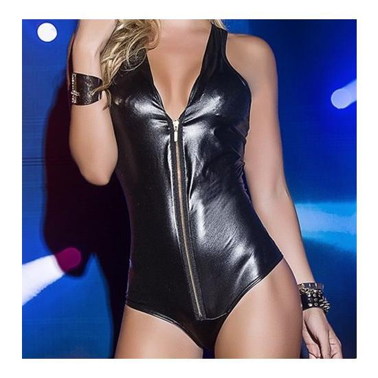 "Black Leathery Long Sleeve Zip Bodysuit ""Gaura"""