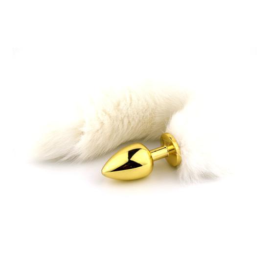 """פלאג מפלדת אל חלד עם ציפוי זהב עם זנב לבן יפייפה """"Florance"""" 2"""