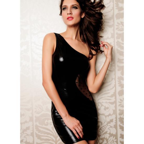 """""""Issoria""""    שמלה שחורה סקסית מעור תעשייתי זיגזג מבט מקדימה"""